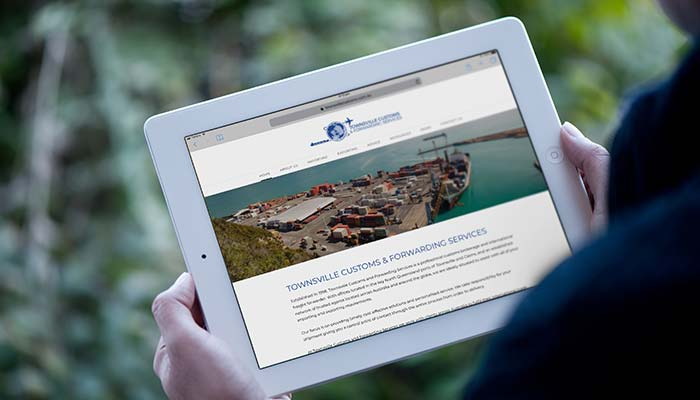 Website design by Roxanne Grey for Townsville Customs and Forwarding Services